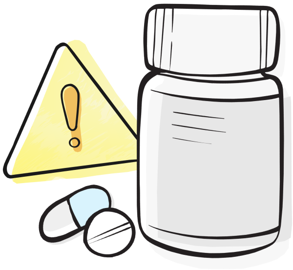 Medication error pill bottle and pills