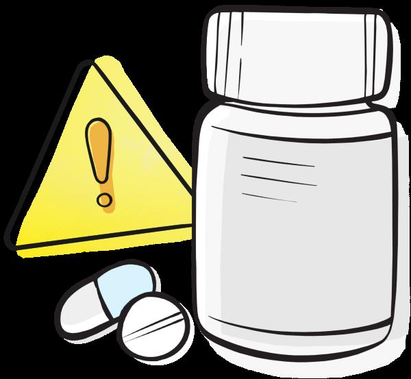 Medication error pill bottle and pills